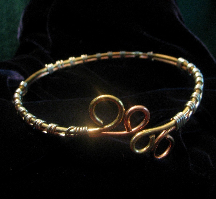 arm cuff bracelet of copper brass and silver wire
