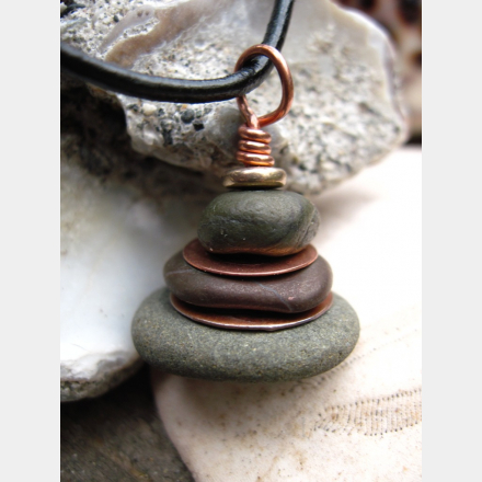 Oregon beach rock cairn in jaspers and recycled copper - Om Rock stacked stone pendant