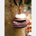 Red jasper and white stacked rock pendant