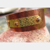 Mixed metal copper and nugold heart primative cuff bracelet