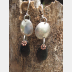 Om Rock Basalt beach stone dangle earrings
