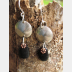 Om Rock Basalt beach stone dangle earrings