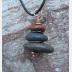 Om Rocks stacked beach rock cairn pendant