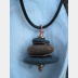 Beach stone stacked rock with copper Om rock cairn zen pendant