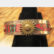 Steampunk recycled tin and German silver cuff bracelet