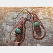 Green gemstone and copper dangle hoop earring
