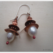 Fresh water white pearl and copper dangle earrings