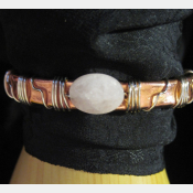 Gemstone copper cuff bracelet with Rose quartz gemstone