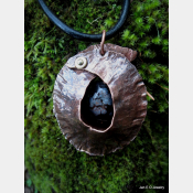Tribal copper fold form pendant