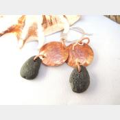 Natural beach rock earrings