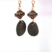 Copper and Natural rock earrings