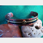 Cuff bracelet of vintage tin and copper - Trashy Tinsel Recycled Tin Jewelry