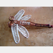 Handmade wire wrap silver winged dragonfly pendant- Insight