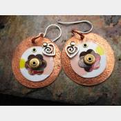 Tin and copper recycled earrings