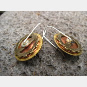 Steampunk latchback mixed metal gear earrings
