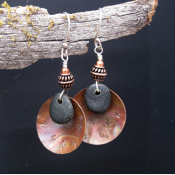 Handmade natural stone and copper earrings