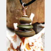 Stacked stone cairn of Oregon beach stones Om Rock Pendant