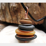 Rock Cairn Pendant in browns and blacks with silver spacers