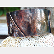 Textured fold form copper organic tribal cuff bracelet