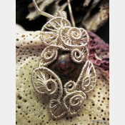 Handmade wire wrap Jasper gemstone cabochon pendant  one of a kind jewelry