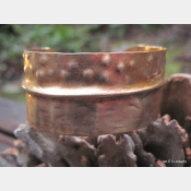Textured fold form bronze tribal cuff bracelet