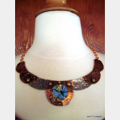 Recycled tin and mixed metal butterfly collar necklace