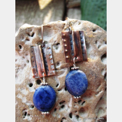 Tribal fold form copper and sodalite healing earrings