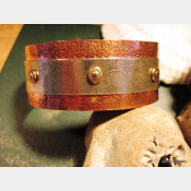 Mixed metal copper and German silver textured leaf design healing cuff