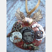 Steampunk reArt recycled mixed metal charm pendant