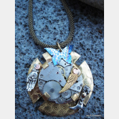 Steampunk mixed metal watchwork brass pendant