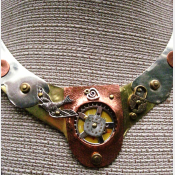 Steampunk mixed metal breast plate statement neck piece