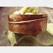Copper forged fold form wide bracelet