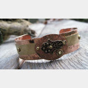 Mixed metal Hamsa Hand of Protection cuff bracelet