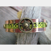Copper and tin mixed metal recycled steampunk tribal cuff