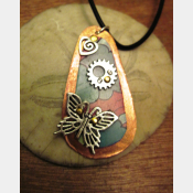 Recycled tin copper pendant with butterfly, gear, heart